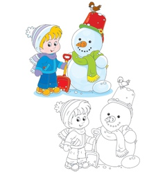 Child and snowman vector image