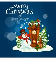 Christmas and New Year poster with snowman vector image vector image