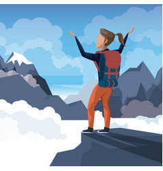 Colorful daytime landscape of climber woman vector