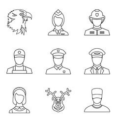 Confession icons set outline style vector