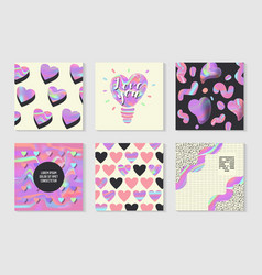 Creative holographic posters set geometric shapes vector
