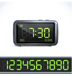 Digital alarm clock numbers vector