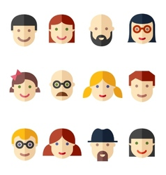 Flat avatars faces people icons vector image vector image