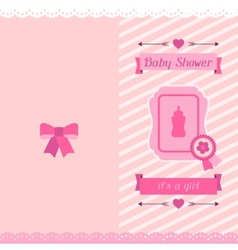 Girl baby shower invitation card vector image