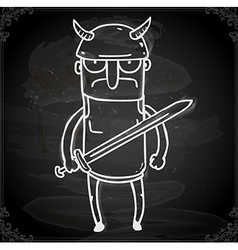 Gladiator drawing on chalk board vector