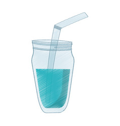 Glass jar blue juice straw vector