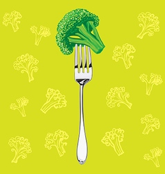 green broccoli on a metal fork vector image