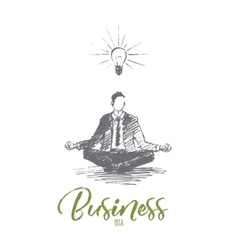 Hand drawn businessman sitting and meditating vector image vector image