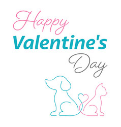 happy valentine card cute cat and dog vector image vector image