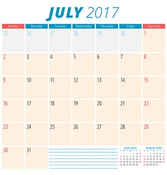July 2017 Calendar Planner for 2017 Year Week vector image vector image