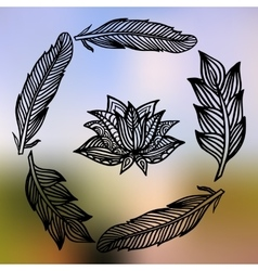 Lotus and feathers frame on the gradient mesh vector image