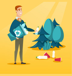 Man collecting garbage in forest vector