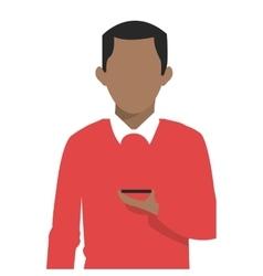 Man holding cellphone icon vector