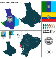 Map of santa elena ecuador vector