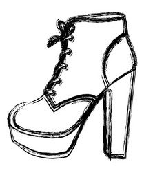Monochrome blurred contour of high heel shoe with vector