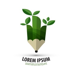 pencil logo design template ecology or nature icon vector image