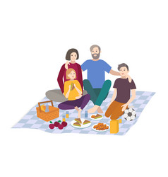 picnic family with children vector image vector image