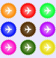 Plane icon sign big set of colorful diverse vector