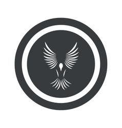 Round black bird sign vector