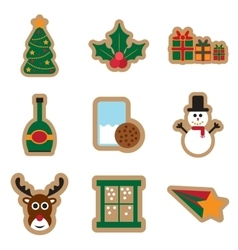 Set of flat icons on white background christmas vector