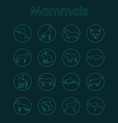 Set of mammals simple icons vector