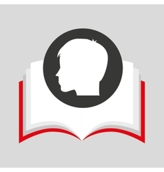 Silhouette head boy student open book vector