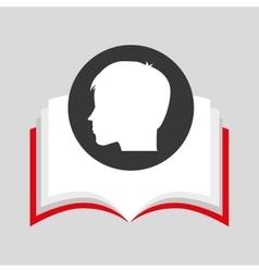 Silhouette head boy student open book vector