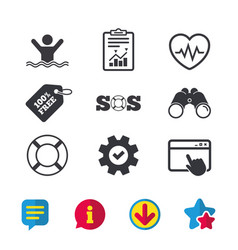 Sos lifebuoy icon heartbeat cardiogram vector