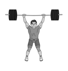 strong weightlifter raises the bar in the gymthe vector image vector image