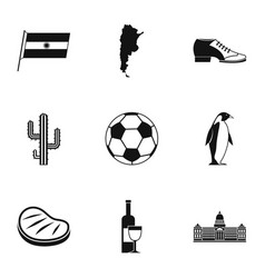 Typical argentina icons set simple style vector