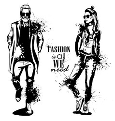 Woman and man fashion vector