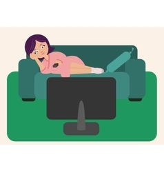 Woman lying and watching TV vector image