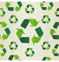 Wooden recycle arrows seamless pattern background vector image