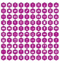 100 mirror icons hexagon violet vector