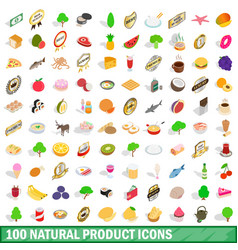 100 natural product icons set isometric 3d style vector