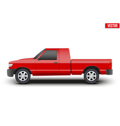 Original classic red pickup truck vector