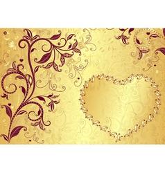 Vintage gold floral valentine frame vector