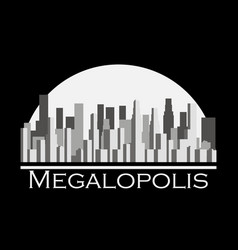 Panorama of city with skyscrapers megalopolis vector