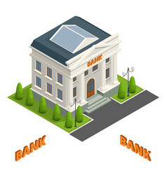 Bank finance building icon isolated vector
