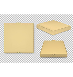 Blank pizza box design template set vector