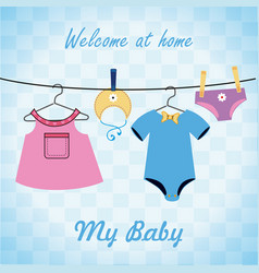 Baby shower design over blue background vector