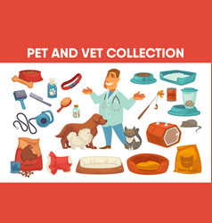 dog cat pet stuff and supply set vector image