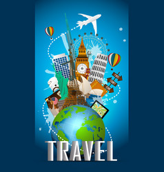 Travel famous monument of the world vector