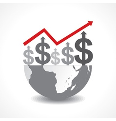 Business graph of dollar symbols on earth vector
