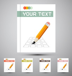 Brochure cover design template with pencil check vector