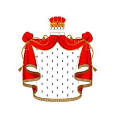 Royal red velvet mantle with golden crown vector