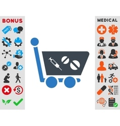 Medication shopping cart icon vector