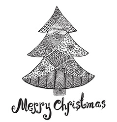 Ornamental hand drawn sketch of christmas tree in vector