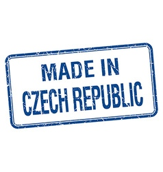 Made in czech republic blue square isolated stamp vector