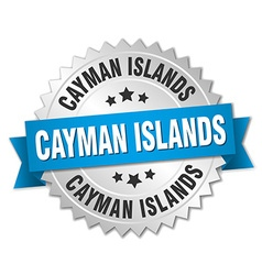 Cayman islands round silver badge with blue ribbon vector
